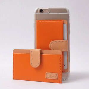 Ringke Genuine Leather ID/Card Holder 3M Adhesive Sticker Attach Wallet - ORANGE