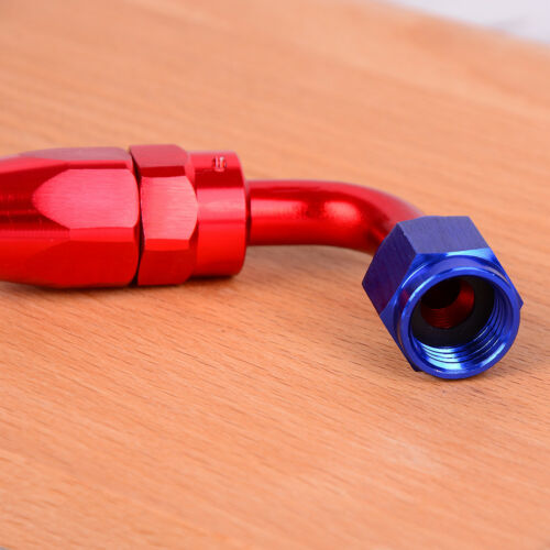 AN6 6-AN 90° degree swivel oil//fuel//air//gas line hose end fitting red blue JP