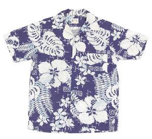 ebe2373c Image is loading Margolis-Vintage-1960s-Hawaiian-Shirt-Blue-White-Flower-