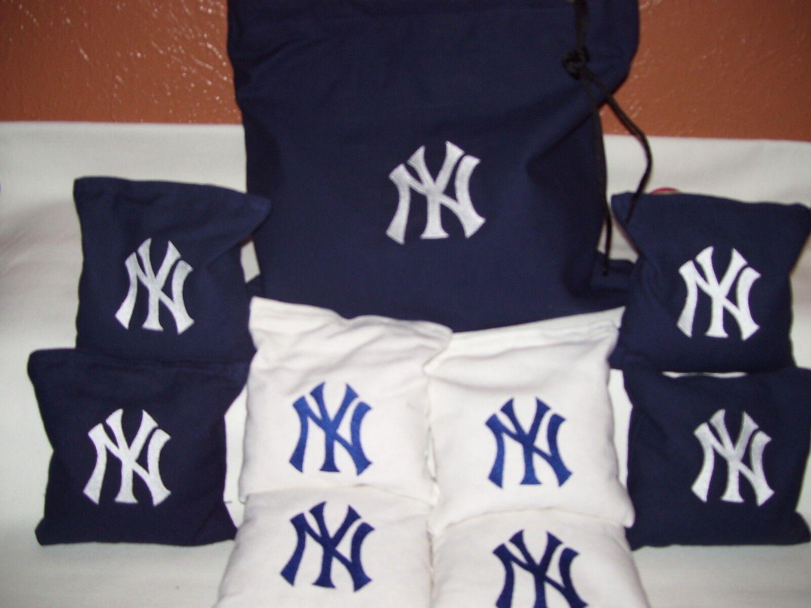 NY Yankees Embroidered Cornhole Corn Hole Bags Set of 8 with Storage Bag