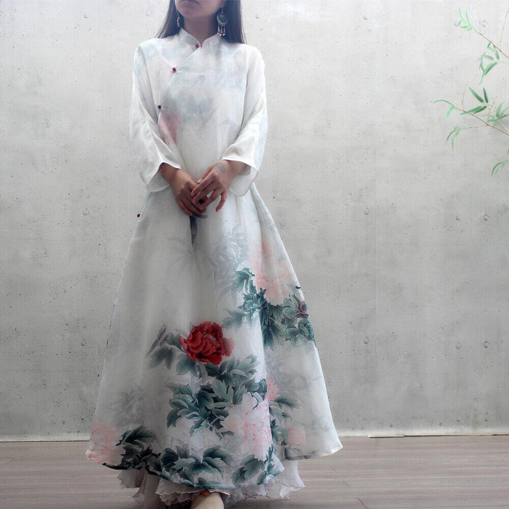 Women Button Flare Long Sleeve Silk Linen Floral Print Qipao Dresses Enthic Gown