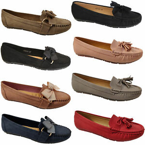 Ladies-Slip-On-Ballerina-Womens-Suede-Look-Pumps-Flat-Bow-Tassels-Shoes-Fashion