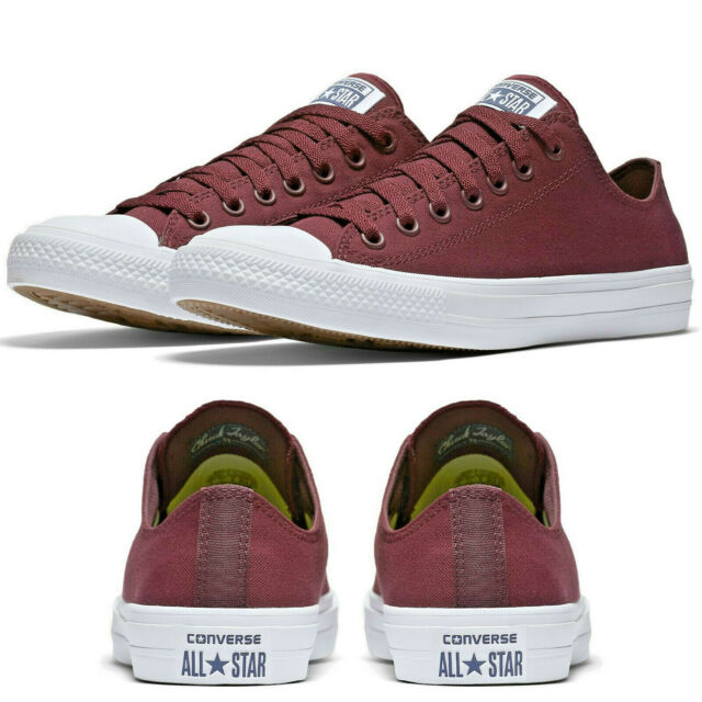 6529c7f1c39c Converse Chuck Taylor II All Star 2 Ox Low Bordeaux Canvas Trainers SIZES  3-7