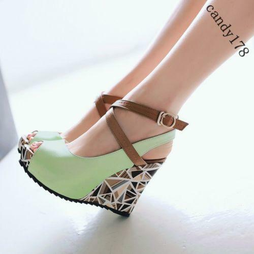 Summer Women Lady Open Toe Sandals Ankle Strap High Wedge Heel Pumps Shoes Sizes