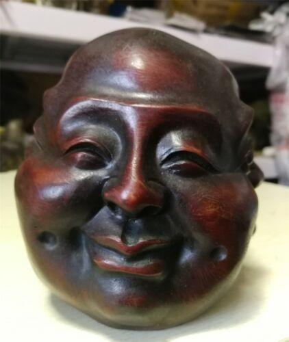 wood Archaic statue de Buddha du excellent Redwood  4 face H:12.8cm