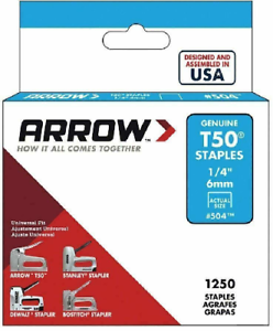 1250pcs 6 mm Heavy Duty Staples 504 Arrow T50 1//4in