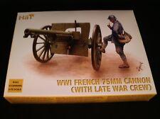 équipage Hat 8158 WWI US Artillery avec 75 mm Cannon 1//72 Modèle Kit 1 carton Gun