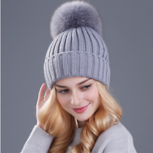 e705400881b80 Mink and fox fur ball cap pom poms winter hat for women girl  s hat ...