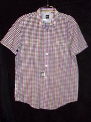 NWT Mens Hugo Boss Slim Fit Button Up Down Shirt Purple Yellow Pink White XL