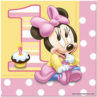 Minnie Mouse Baby NAPKINS Lunch 1st First Birthday Decoration Party Supplies Gir