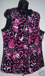 Breckenridge Ladies Pink Amp Black Print Velour Quilted Vest