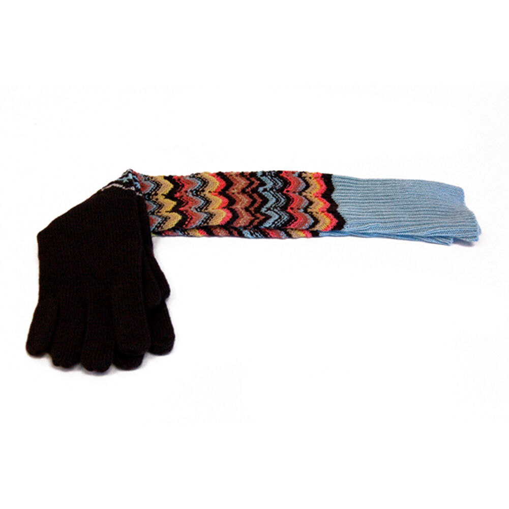 SET OF MISSONI FOR TARGET GLOVES, SCARF COLORE BROWN BLUE ONE SIZE