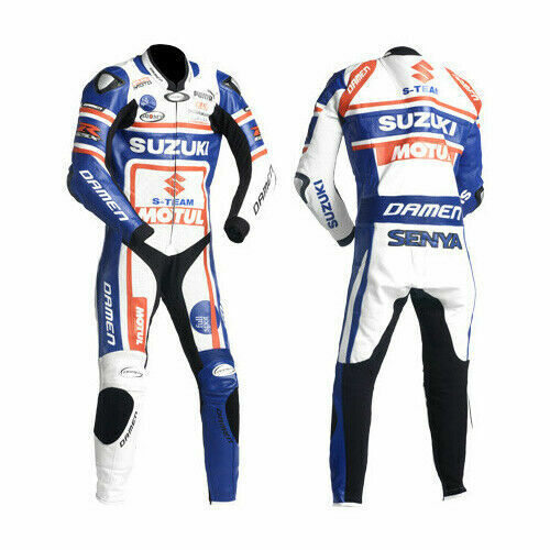 Mens Suzuki Senya Motorcycle Leather Suit Motorbike Sports Racing Leather Suit
