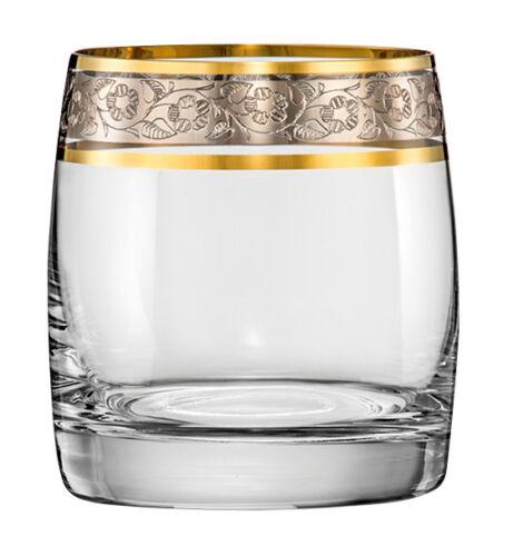 Platin Wassergläser Kristall Original Bohemia 6er Set 290 ml Ideal Gold