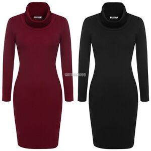 Women-Knit-Sweater-Dress-Cowl-Neck-Long-Sleeve-Red-Brown-Black-Gray-M-L-XL-XXL