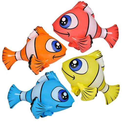 4 ASST COLORS HUGE INFLATABLE CLOWN FISH 36 inches inflate novelty toy  BLOW UP