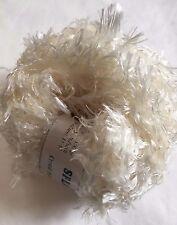Crystal Palace Splash #201 Ivory Cream White Feather Boa Short Eyelash Yarn 100g