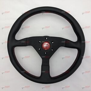 MOMO-MONTECARLO-RED-Leather-steering-wheel-350MM-100-GENUINE-Ready-to-Ship