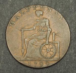 1792-Great-Britain-Cheshire-Macclesfield-Cu-Half-Penny-Token-Coin-DH57-VF