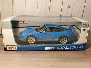 Maisto-2011-Porsche-911-GT3-RS-4-0-Coupe-1-18-escala-Diecast-Modelo-de-Coche-Azul