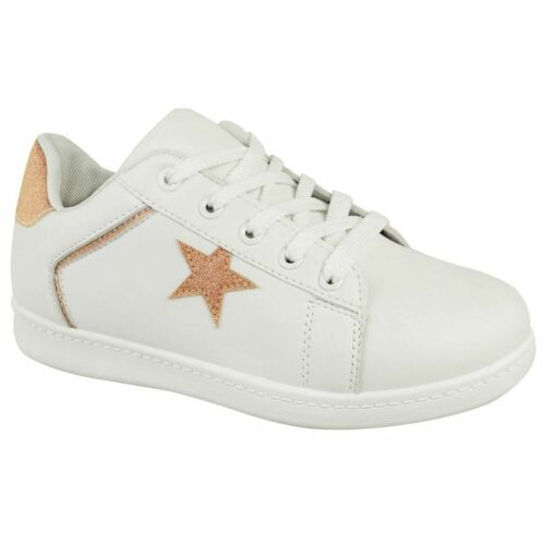 Womens Ladies Glitter Star Trainers Sneakers Sparkle Gym Workout Comfort Shoes