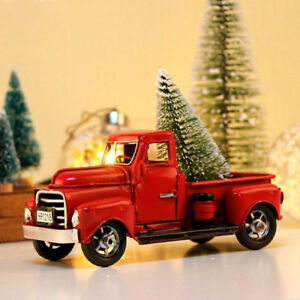 Old Red Truck With Christmas Tree In Back.Details About Red Metal Truck Christmas Party Decoration Tree Xmas Gift Ideas Vintage Style Us