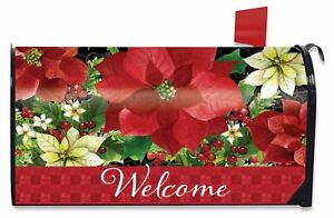 image is loading poinsettia welcome christmas mailbox cover floral standard briarwood