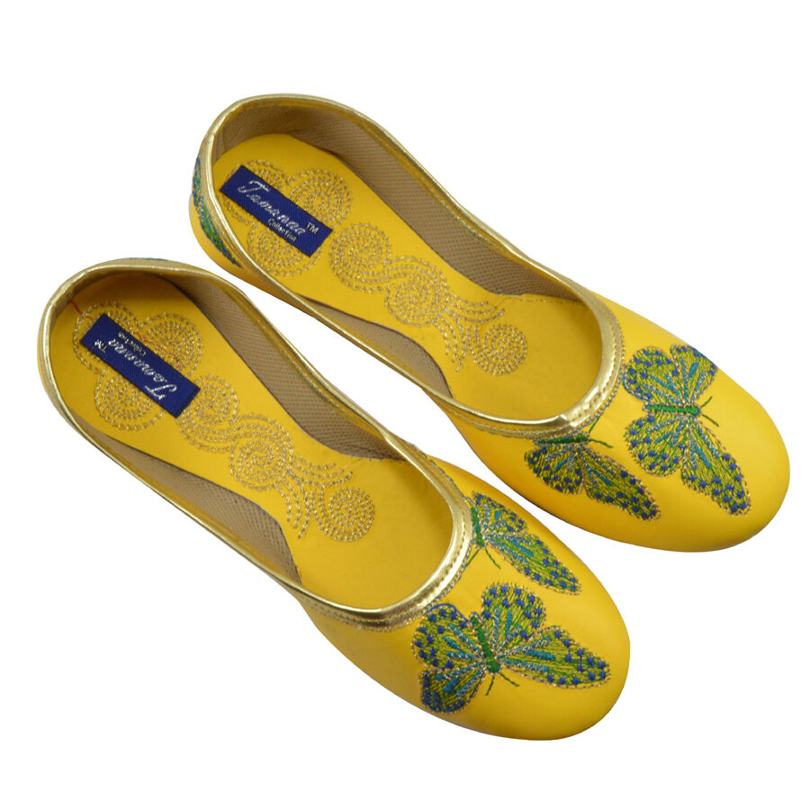 US 6 Indian Handmade Ethnic Khussa Flat  For Mojari In Yellow Color For  Women 7f22f0