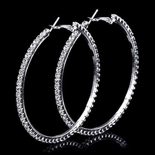 Bling Stunning Diamante Crystal Earrings 6cm Diameter Hoop Earrings