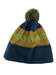 The North Face Spell Out Blie/Brown Unisex Winter Hat Adult Beanie Pom