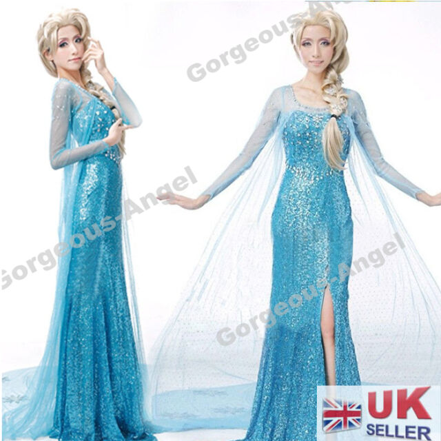 Adults Women Frozen Princess Queen Elsa/Anna Costume Cosplay Fancy Dress Party