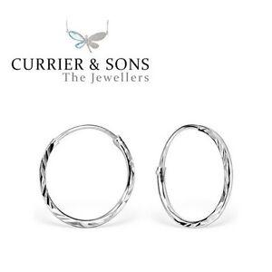 925-Sterling-Silver-Medium-16mm-Diamond-Cut-Hoop-Sleeper-Earrings-Pair