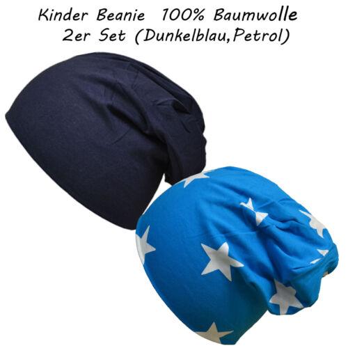 2 Stück Baumwolle Uni /& Sterne Gr.S 43-47 cm Kinder Beanie Mütze Mädchen Junge !