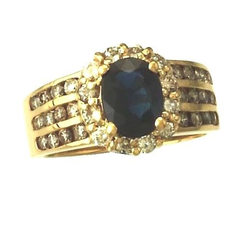 SPECTACULAR 14K gold blueeE SAPPHIRE AND DIAMOND STATEMENT RING   SIZE 6