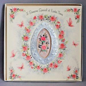 Vintage-1950s-HALLMARK-Roses-EASTER-CARD-ORIG-BOX-Huge-GREETING-8-034-x8-034