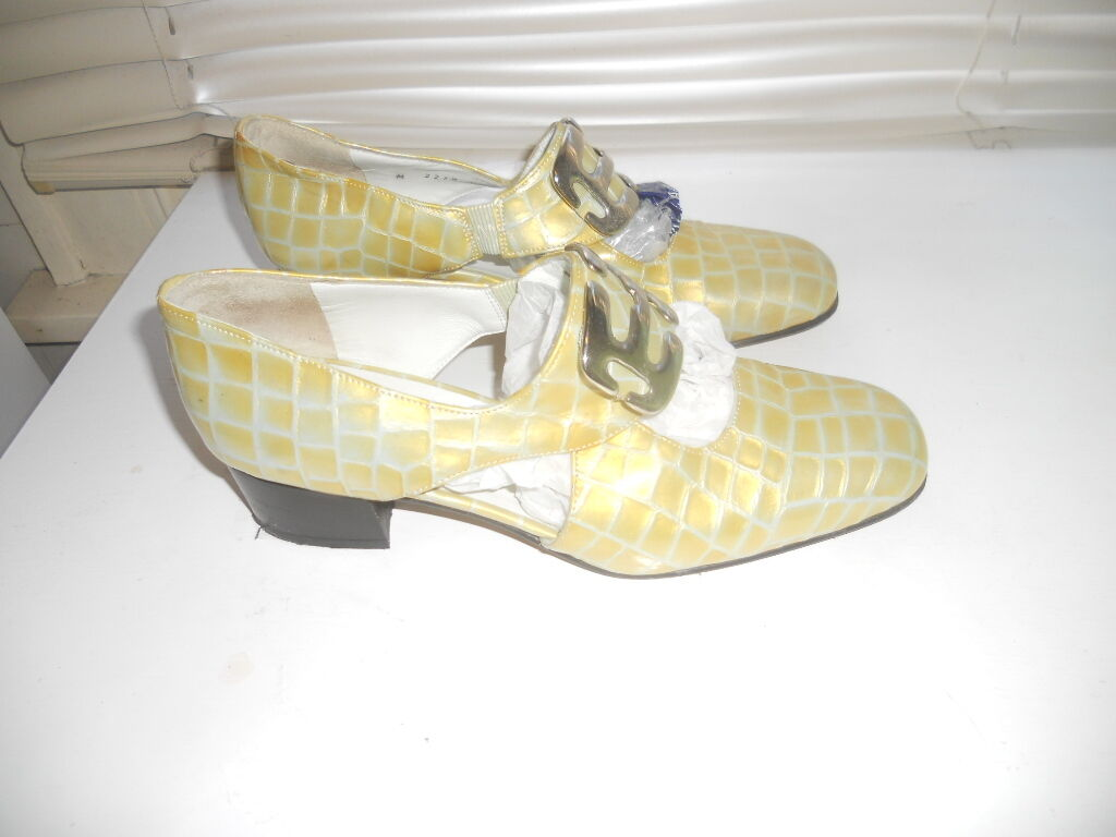 Vintage Magli   Art to Wear  giallo Faux Croc scarpe  38
