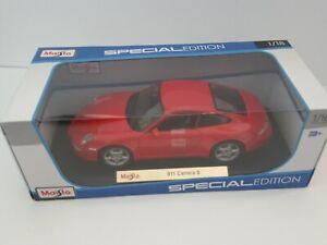 Maisto-Special-Edition-1-18-Die-Cast-Auto-Deportivo-Rojo-Porsche-911-Carrera-S
