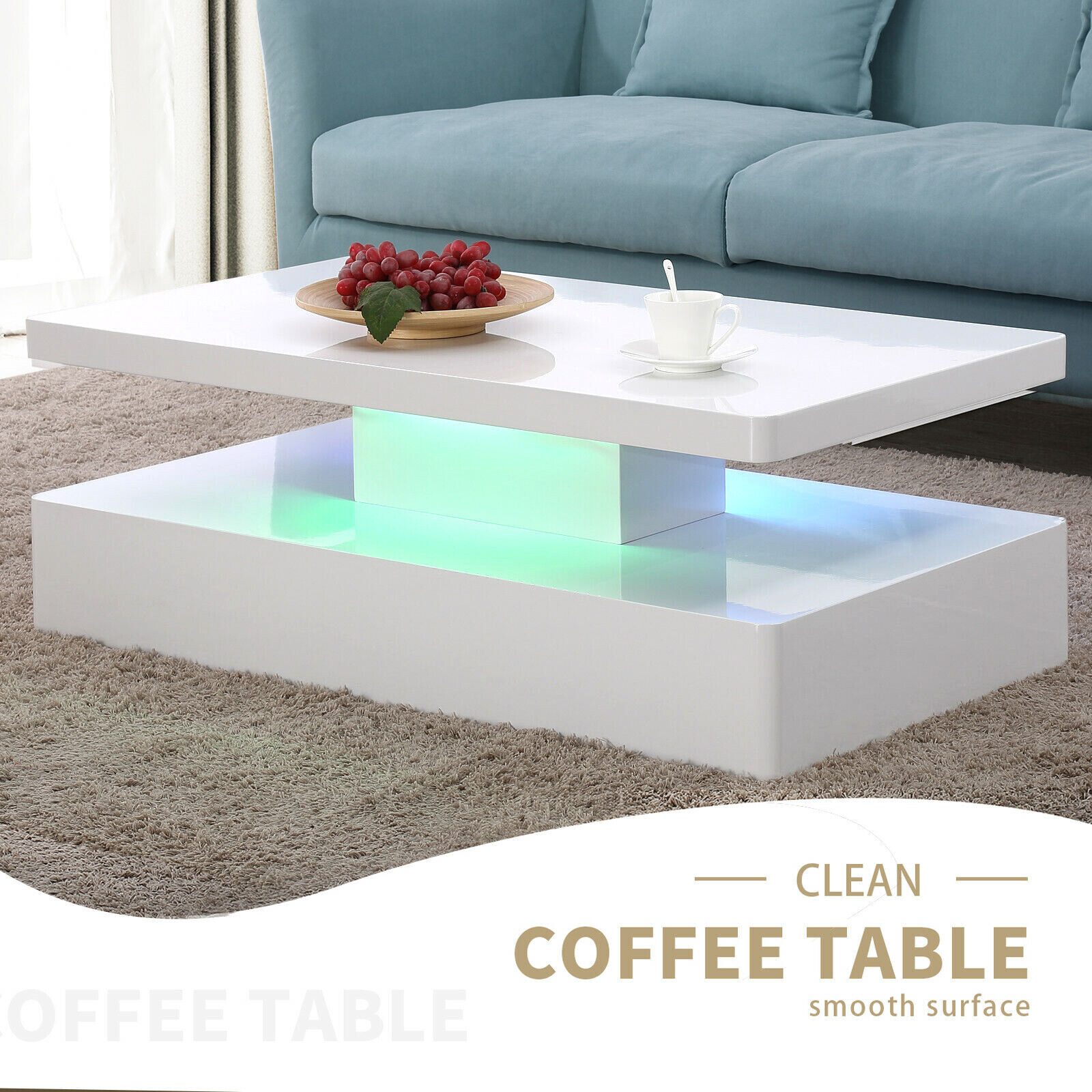 Modern High Gloss White Led Coffee Table W Remote Control Living Room Furniture