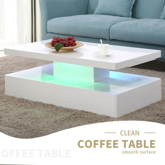 High Gloss Coffee Table 3 Layer Square Living Room Modern