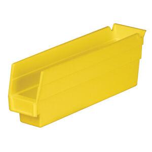 Akro-Mils Shelf Bin 11-5/8Dx 2 3/4W x 4H Yellow 24 pack