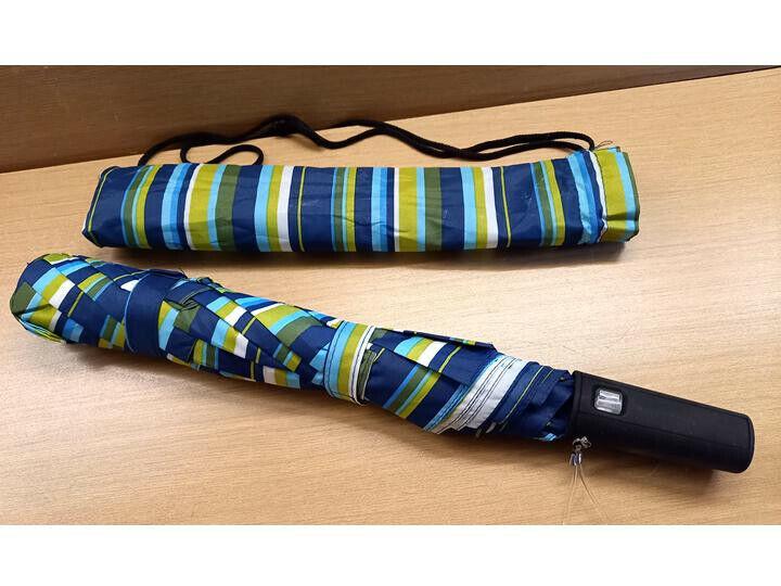 Auto Umbrella Blue / Green Striped & matching cover   (D44)