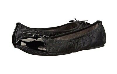Butterfly Twists Womens Olivia Fur Black Quilted Flat Ballerina Shoes Size
