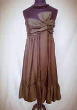 Diane Von Furstenberg Tolara Bow Olive Green Strapless Dress sz 6 EUC
