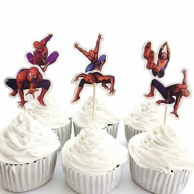 Party Supplies Lolly Loot Bags Wrappers 12x Spiderman Cupcake Toppers