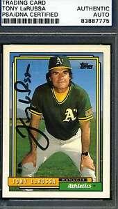 Tony Larussa 1992 Topps Psa/dna Signed Original Authentic Autograph