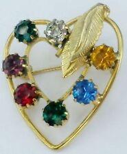 broche bijou vintage coeur couleur or cristaux palette de couleur  542