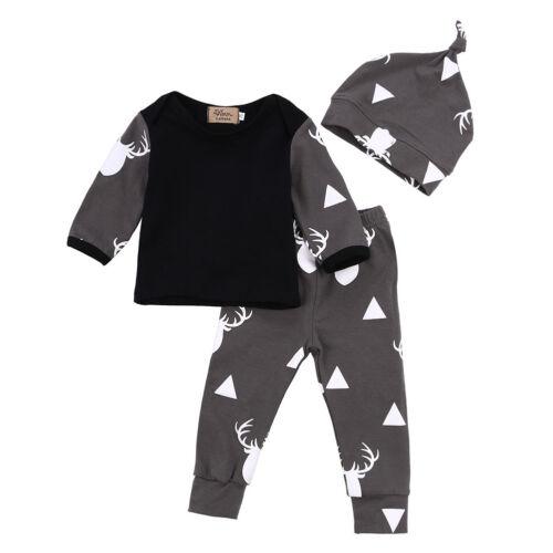 Newborn Baby Girl Boy Clothes Deer Tops T-shirt+Pants Leggings 3pcs Outfits Set