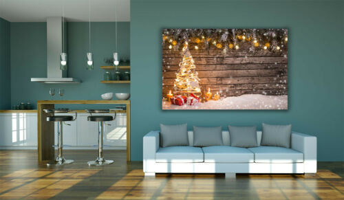 Christmas Tree Gifts Candles Wooden Background Canvas Wall Art Picture Print A0