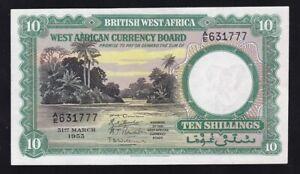 BRITISH-WEST-AFRICA-10-SHILLINGS-1953-VF-HIGH-GRADE-RR