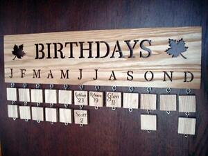 Family Birthday Board Birthday Reminder Wooden Plaque Anniversary